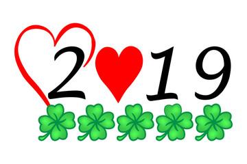Jahr 2019 mit Glück und Herz