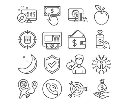 Set of Income money, Target and Wallet icons. Flight sale, Atm and Payment click signs. Calculator target, Online shopping and Phone payment symbols. Savings, Targeting, Affordability. Vector