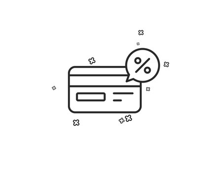 Credit card line icon. Banking Payment card with Discount sign. Cashback service symbol. Geometric shapes. Random cross elements. Linear Cashback icon design. Vector