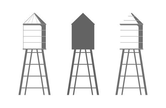 Water tower icon. Drinking water storage tank.