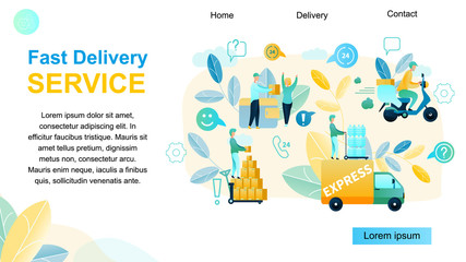 Vector Illustration Fast Delivery Service Purchase