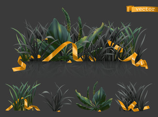 Dark grass with gold ribbons, 3d realistic vector icon set