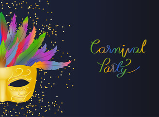 elegance designed of gold mask with colorful feather and carnival party lettering on confetti background. concept for costume mask to celebrate in carnival festival in vector illustration