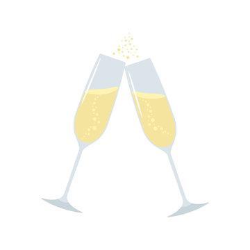 Glasses of champagne. Vector illustration.
