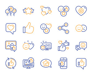 Social media line icons. Set - Share network, Social links and Rating linear icons. Heart, Feedback smile emotion and internet media. Share network, like icon, video content rating and dislike