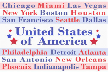 Word cloud with cities of the United States of America
