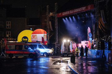 Emergency responders are seen near a scene of the 27th Grand Finale of the Great Orchestra of Christmas Charity in Gdansk