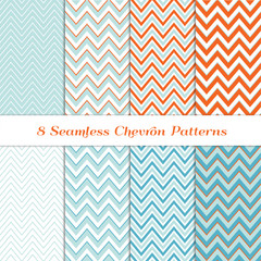 Aqua Blue, Coral Orange, Turquoise and White Chevron Seamless Patterns. Various Width Zigzag Stripes. Repeating Pattern Tile Swatches Included.