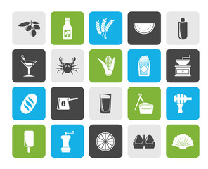 Different king of food and drinks icons 3 - vector icon set