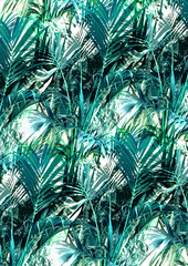 Tropical print, palm leaves in multicolor.