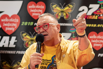 Jerzy Owsiak, founder of the Great Orchestra of Christmas Charity Foundation, speaks during the 27th Grand Final of the annual charity drive in Warsaw
