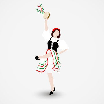 A young girl dressed in a national costume dancing an Italian tarantella with a tambourine isolated on white background