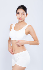 Portrait young asian woman smiling beautiful body diet with fit isolated on white background, model girl weight slim with cellulite or calories, health and wellness concept.