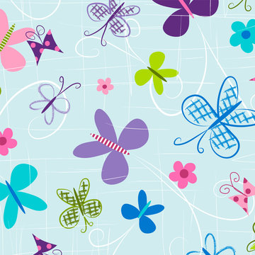 Butterfly seamless pattern. Repeating pattern for fabric, gift wrap, backgrounds, scrapbook paper, kids apparel and more. Colorful butterflies fly across this all over print. Vector illustration.