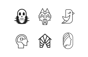 Set of logos. Skull, wolf, bird, head, house, woman. White background. Vector illustration