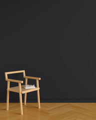 Wood chair in black living room for mockup, 3D rendering