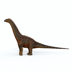 Alamosaurus Dinosaur Side Profile - Alamosaurus was a titanosaur sauropod herbivorous dinosaur that lived in North America during the Cretaceous Period.