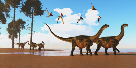Antarctosaurus Dinosaur Seashore - A flock of Thalassodromeus reptiles fly over a herd of Antarctosaurus dinosaurs on their way to search for fish prey.