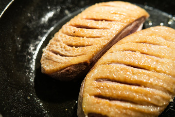 Duck breast in a pan