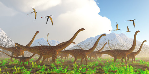 Diplodocus Dinosaur Migration - A herd of Diplodocus sauropod dinosaurs on their yearly migration encounter a flock of Rhamphorhynchus flying reptiles.