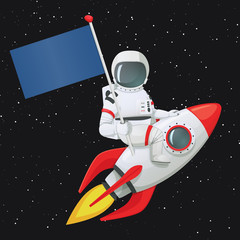 Astronaut sitting astride the rocket ship holding the flag with right hand and touching the ship with the other.