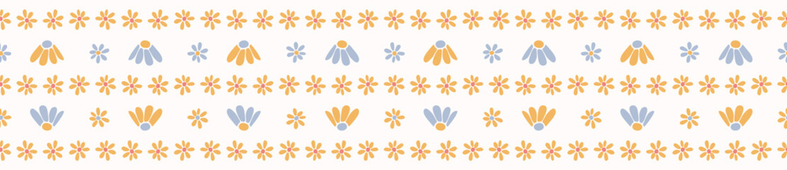Vector yellow daisy flowers with blue petals. Hand drawn seamless vector border. Spring and summer floral banner ribbon in simple daisies flat color. Fun washi tape.