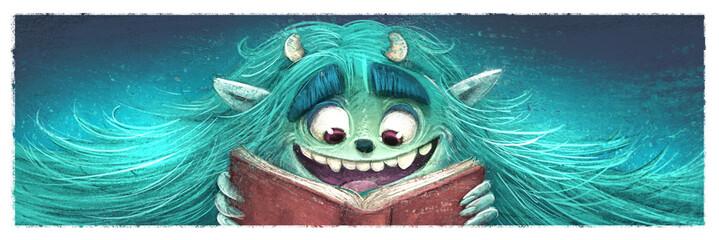 monstruo leyendo un libro