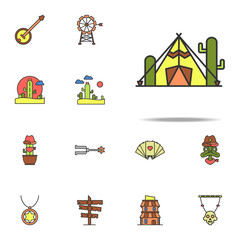 tent in the desert colored icon. Wild West icons universal set for web and mobile