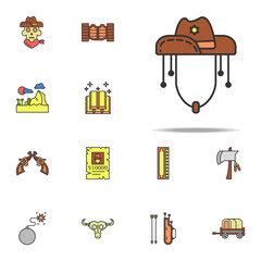 cowboy hat colored icon. Wild West icons universal set for web and mobile