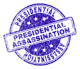 PRESIDENTIAL ASSASSINATION stamp seal watermark with distress texture. Designed with rounded rectangles and circles. Blue vector rubber print of PRESIDENTIAL ASSASSINATION label with dirty texture.