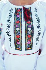 Close-up beautiful Ukrainian traditional style embroidery. Vyshivanka
