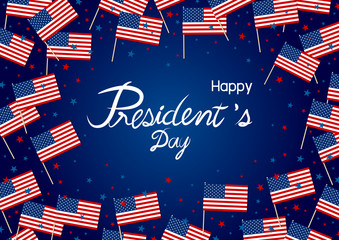 President's day design of america flag and star on blue background vector illustration