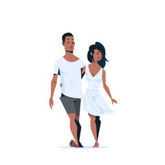 couple in love happy valentines day concept african american man woman embracing walking together cartoon characters full length isolated