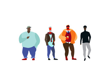 group mix race people standing together casual full length male cartoon characters flat isolated horizontal