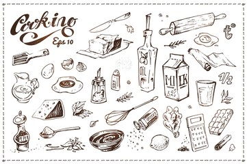 Cooking food illustrations set. Hand drawn sketches