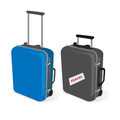 Suitcases with baggage travel tags