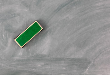Back to school concept with green chalkboard plus eraser