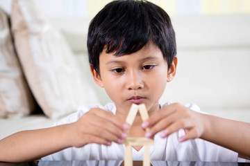 Asian little boy building a house