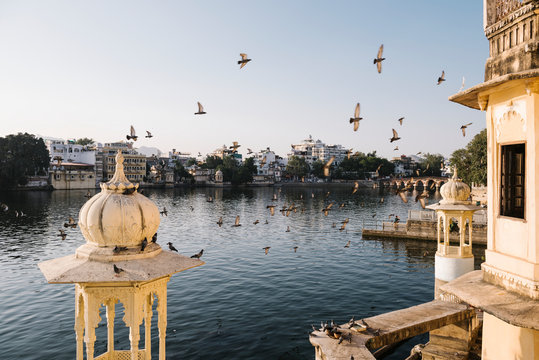 Udaipur city view from a hotel balcony in Rajasthan, India