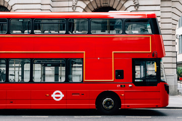 Photo on textile frame London red bus Red double decker bus in London
