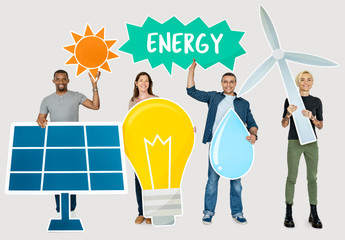 Diverse people holding energy saving icons