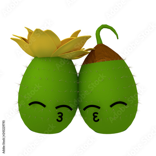 cc9abe9cd89 KAWAII GLOSSY CHARACTER DESIGN MEXICAN FRUIT TUNA CACTUS WITH A CUTE IN  LOVE FACE 3D ILLUSTRATION