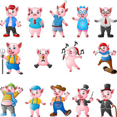 Cartoon pigs collection set
