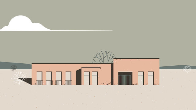 Landscape architecture, orange building in desert with dead trees and mountains in background, vintage style