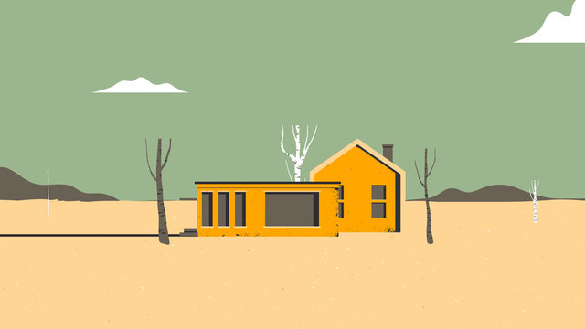 Landscape architecture, orange houses in desert with dead trees and mountains in background, vintage style