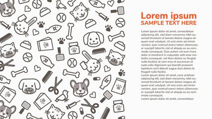 horizontal pet shop outline cartoon with copy space, pet care