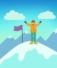 Mountain climbing. Vector illustration