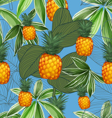 Pineapples seamless patter9