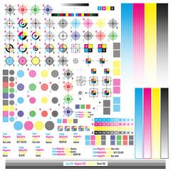 CMYK color management elements. Publishing graphic symbol utilities. Press mark. Calibration, cutting marks. EPS 10