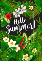Hello Summer poster with tropical plants